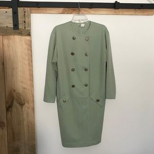 VTG 80s Sage Green Double-Breasted Dress 10 ILGWU